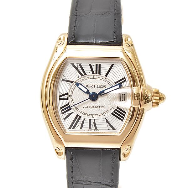 【全商品エントリーするだけでポイント10倍!】カルティエ Cartier ロードスターLM 750YG イエローゴールド メンズ腕時計 自動巻 シルバー文字盤 革ベルト【中古】