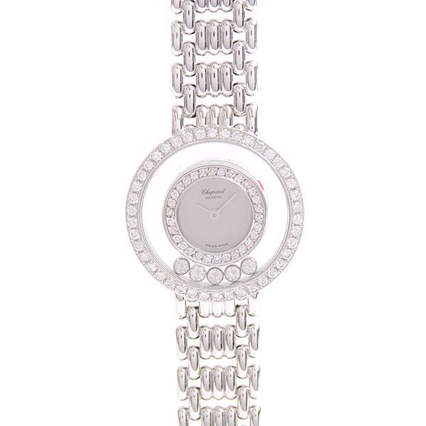 ショパール Chopard ハッピーダイヤモンド 2重ダイヤベゼル 5Pムービングダイヤ レディース 電池式 750WG ホワイトゴールド 4119 1【中古】
