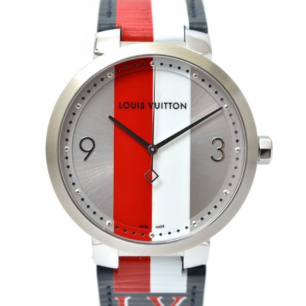 【全商品エントリーするだけでポイント10倍!】ルイヴィトン Louis Vuitton タンブール Q1D02 メンズ時計 赤×白ベルト・文字盤 レディース兼用【中古】