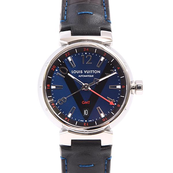 ルイヴィトン Louis Vuitton タンブール GMT Q1157 メンズ 腕時計【中古】