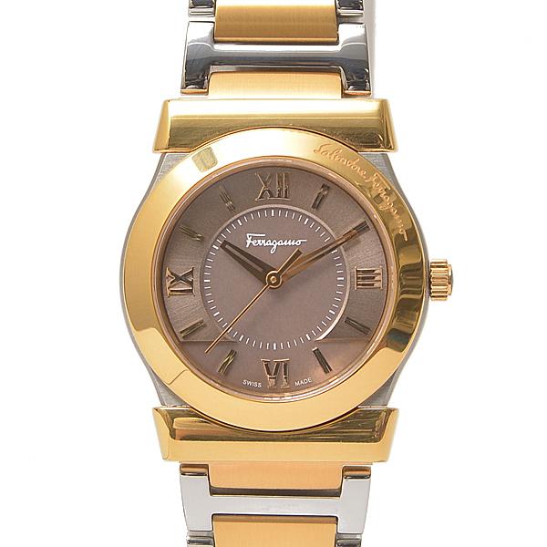 フェラガモ Ferragamo VEGA レディース ボーイズ腕時計 電池式 ブラックシェル文字盤 FI1 SS×GP 【中古】