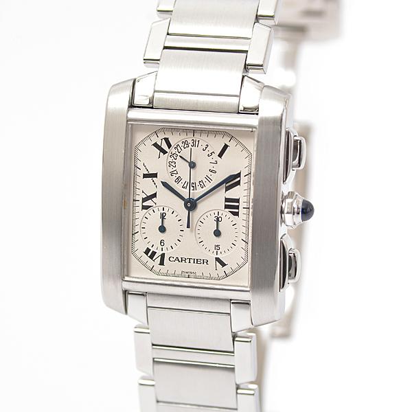 カルティエ Cartier SS タンクフランセーズLM クロノリフレックス W51001Q3 クロノグラフ 電池式 クォーツ メンズ腕時計 旧型【中古】