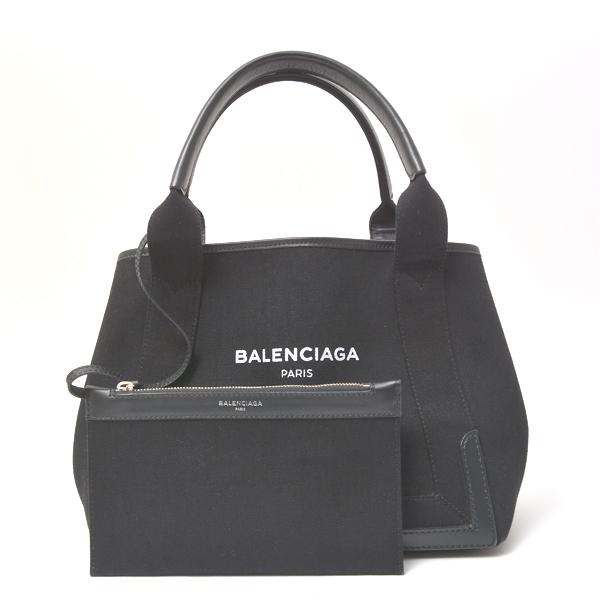 バレンシアガ BALENCIAGA ハンドバッグ ネイビーカバス S キャンバス ブラック ポーチ付き 339933【中古】