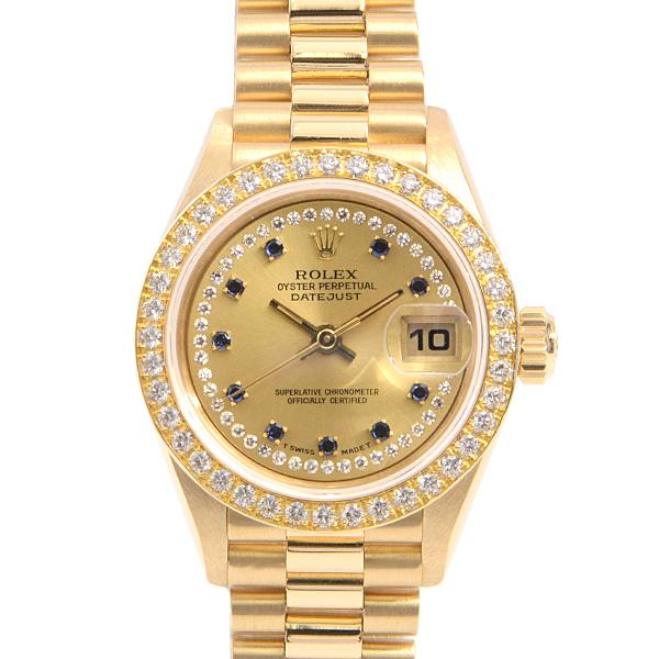 ロレックス ROLEX デイトジャスト レディース腕時計 69138LS ミリヤード ダイヤ サファイア 自動巻 ゴールド・金無垢 E番【中古】