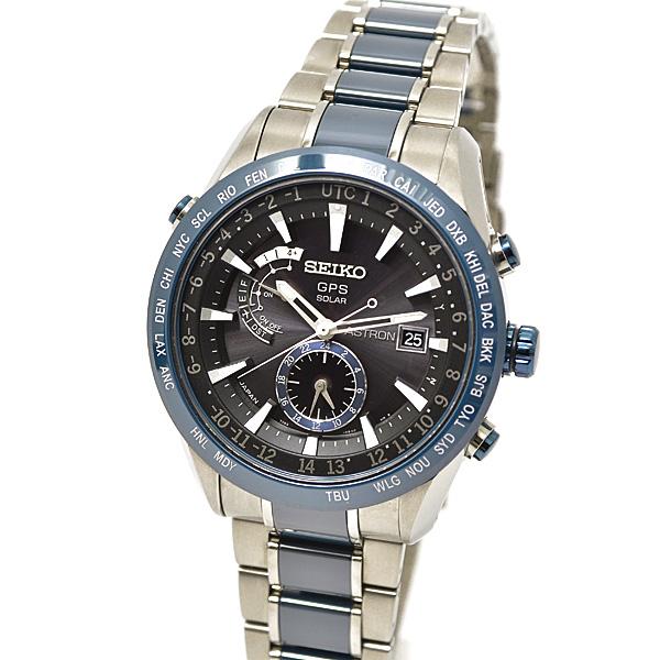 セイコー SEIKO アストロン メンズ腕時計 ブライトチタンモデル GPSソーラー ブラック文字盤 SBXA019 シルバー×ブルー【中古】