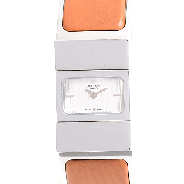 【全商品エントリーするだけでポイント10倍!】エルメス HERMES ロケ バングル ウォッチ レディース 電池式 シルバー文字盤 L01.210【中古】