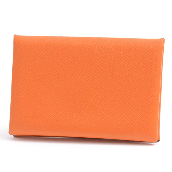 エルメス HERMES ヴォ―エプソン カルヴィ カードケース □P刻 オレンジ メンズ レディース【中古】