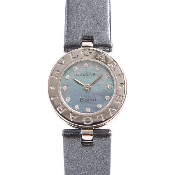ブルガリ BVLGARI ビーゼロワン B-ZERO1 レディース腕時計 12Pダイヤ シェル文字盤 BZ22S 新品革ベルト【中古】