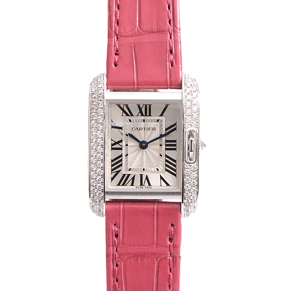 カルティエ Cartier タンクアングレーズSM WT100015 ホワイトゴールド レディース時計 保証書 新品革ベルト【中古】