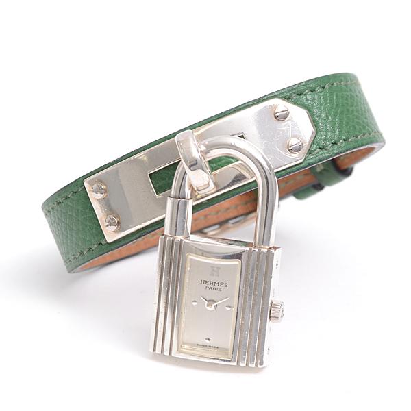 エルメス HERMES ケリーウォッチ シルバー SV925 革ベルト クシュベル レディース腕時計 電池式 クォーツ KE1.250【中古】