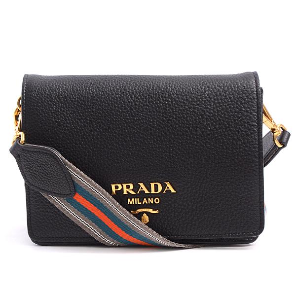 プラダ PRADA ショルダーバッグ レディース ストラップ2種類 レザー ブラック 1BD102【中古】