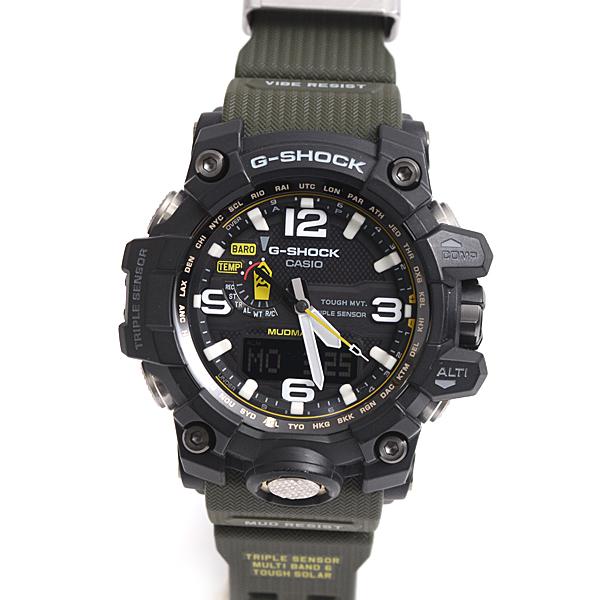 【全商品エントリーするだけでポイント10倍!】カシオ CASIO G-SHOCK Gショック ジーショック マッドマスター ラバーベルト メンズ 腕時計 ブラック カーキグリーン GWG-1000-1A3JF【中古】