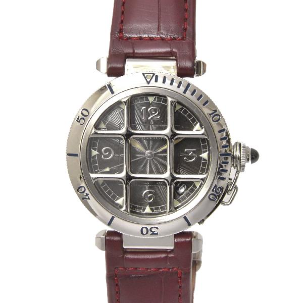 カルティエ 時計 パシャ グリッド 38mm メンズ 革ベルト グレー W3105255【中古】