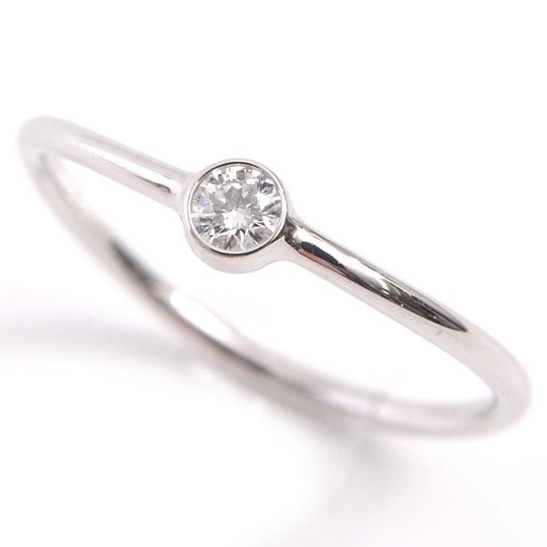新品仕上げ済み 時間指定不可 ショップ 指輪 女性用 定番 人気 細身 綺麗 上品 良質なダイヤモンドがセッティングされたティファニーの細身のリングになります ティファニー プラチナ レディース ウェーブ PT950 1Pダイヤモンド 中古 9号 TIFFANY リング シングルロウ