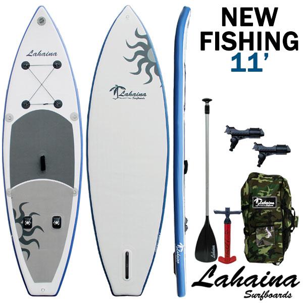 SUP サップ インフレータブルパドルボード ラハイナフィッシング / LAHAINA NEW FISHING 11' 釣り用SUP ホワイト/ブルー スタンドアップパドルボード