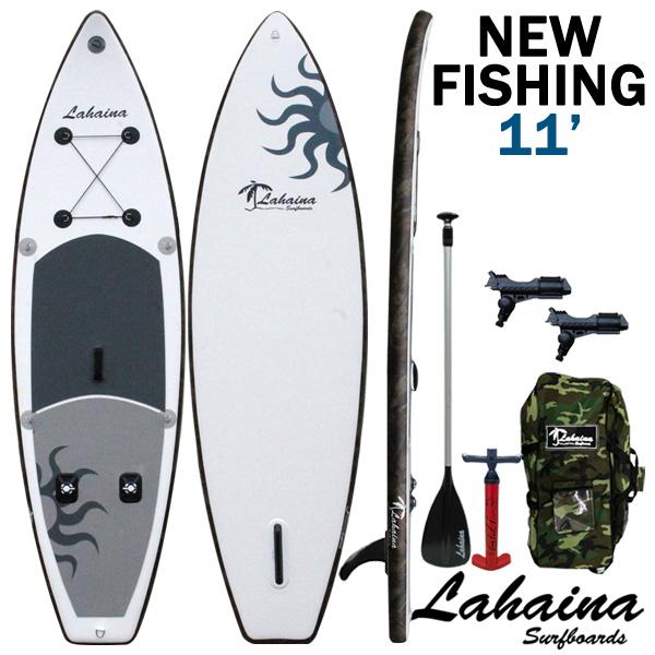 LAHAINA NEW FISHING 11' 釣り用SUP ホワイト/リードカモ