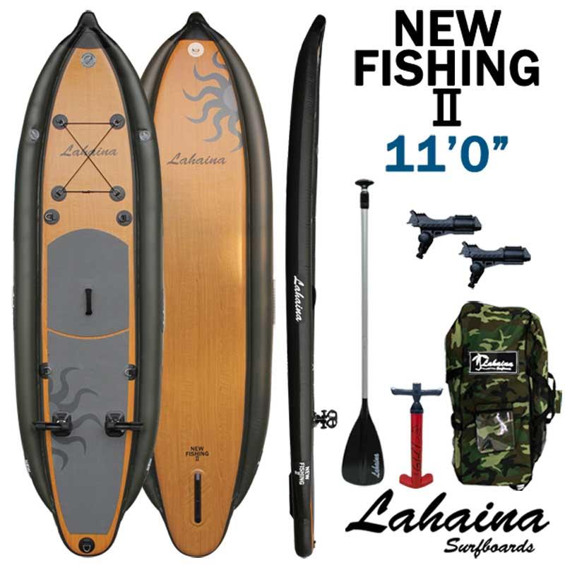 SUP サップ インフレータブルパドルボード / LAHAINA NEW FISHING2 11' 釣り用SUP WOOD スタンドアップパドルボード