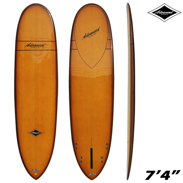 サーフボード ミニロング サーフィン アドバンス / ADVANCED 7'4 EPS/BAMBOO A27 営業所止め 送料無料