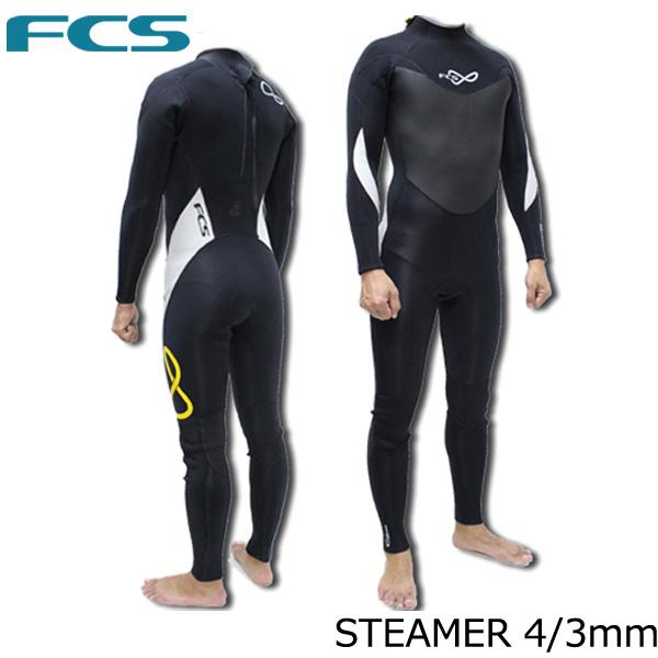 【ポイント2倍!クーポン配布中】FCS ウェットスーツ STEAMER 4/3mm BLK×YEL スーパーストレッチ フルスーツ サーフィン
