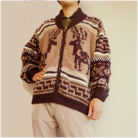 【メンズカーディガン】国産糸で手編みした本格カウチンカーディガン