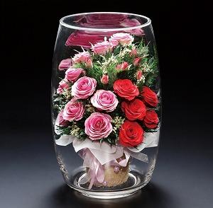 母の日 プリザーブドフラワー 送料無料ピュアフラワー(バラ:ミックス(特大)P-LTV-6)【母の日 敬老の日 誕生日 記念日 ギフト 結婚祝い 開店祝い 開業祝い プレゼント 花 Gift バースデー】