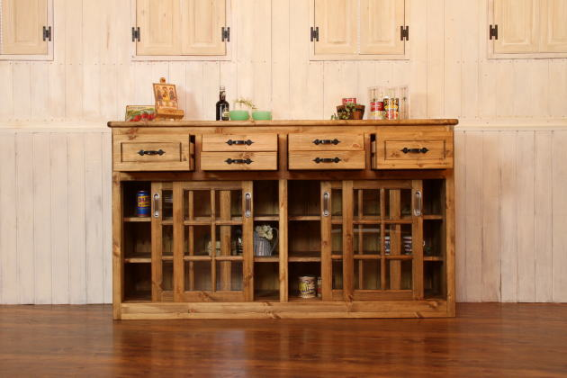 Attrayant ... Country Furniture Low Cabinet Sideboard Cupboard Cupboard Shelves  Sliding Glass Door Multi Purpose Storage Living ...