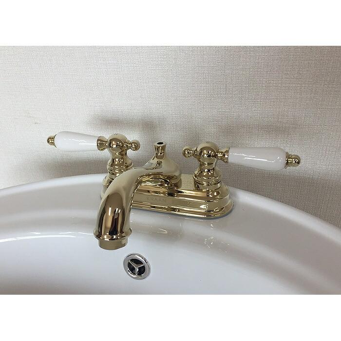 クラシック風 アンティーク風 カントリー風 ゴールド 輸入水栓 洗面台 KRAAN洗面用混合水栓 ビクトリア【4インチレバーハンドル】