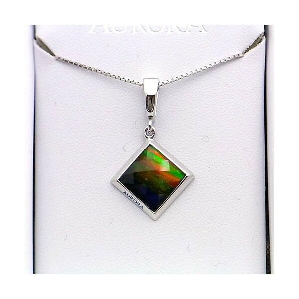 アンモライト シルバー ペンダント トップ 宝石 ジュエリー 正方形型 Aグレード AURORA p1335