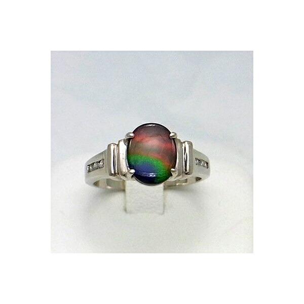 アンモライト 18金 ゴールド ダイヤモンド リング 宝石 ジュエリー フラット オーバル型 A+グレード #15.5 KORITE r1128