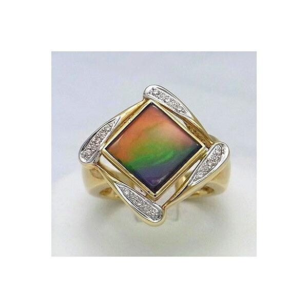 アンモライト 14金 ゴールド ダイヤモンド リング 宝石 ジュエリー フラット スクエア型 AAグレード #16 KORITE r1132
