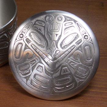 ネイティブ ギフトボックス カナダ 先住民 インディアン BOMA製 [ BEAR MASK PEWTER BOX ] ベアー熊 中  送料無料