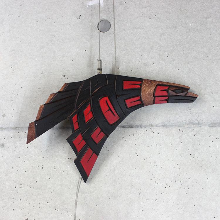 カービング タペストリ 木彫刻 アート 壁掛 カナダ 先住民 ネイティブ インディアン [ EAGLE 鷲] SQUAMISH スクアミッシュ族 Delbent Peter