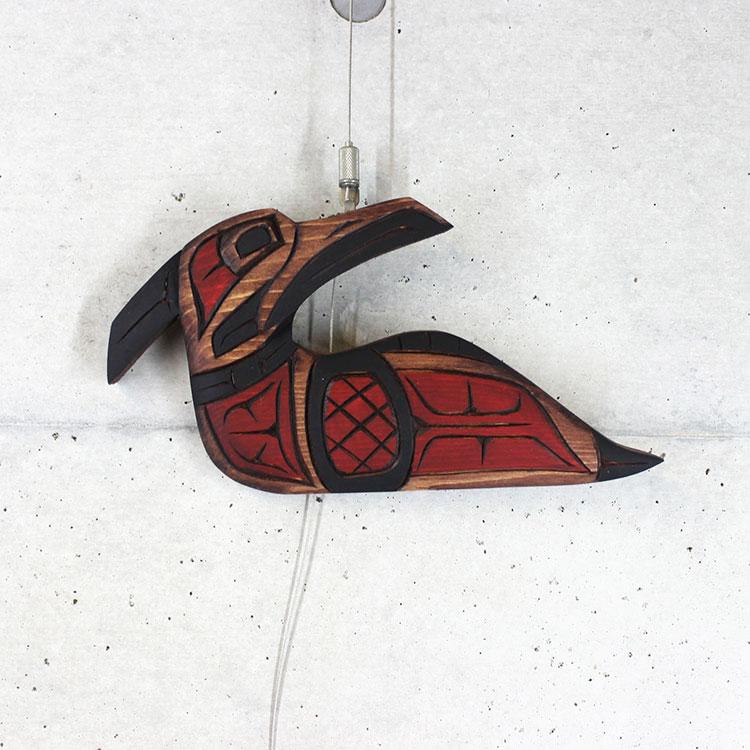 カービング タペストリ 木彫刻 アート 壁掛 カナダ 先住民 ネイティブ インディアン [ LOON ルーン] SQUAMISH スクアミッシュ族 Dora Edwards