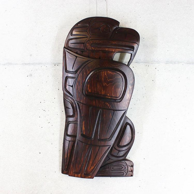 カービング タペストリ 木彫刻 アート 壁掛 カナダ 先住民 ネイティブ インディアン [ EAGLE イーグル] SQUAMISH スクアミッシュ族 Larry Joseph