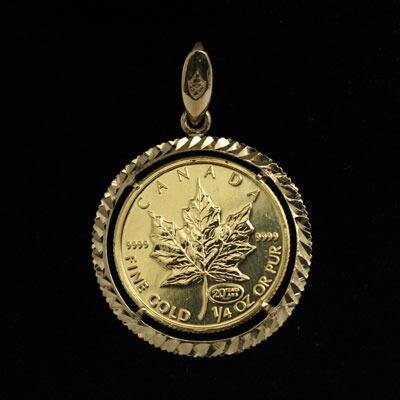 稀少金貨で資産になるアクセサリー 純金 メイプルリーフ 金貨 プレミアム品 ペンダント 10ドル 1/4 1999年 二千年紀最終  送料無料