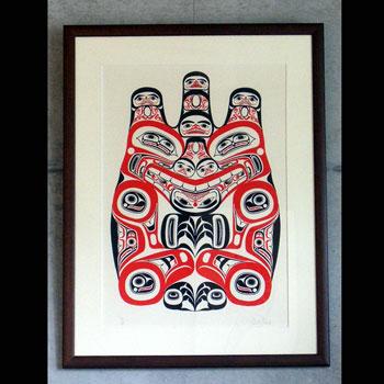 アート シルクスクリーン 画 カナダ 先住民 ネイティブ インディアン 限定エディション 16/60 [ HAIDA GRIZZLY BEAR 熊 ] 額装済  送料無料