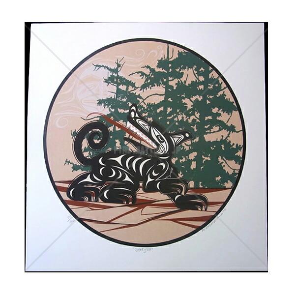 アート シルクスクリーン 画 カナダ 先住民 ネイティブ インディアン 限定エディション 57/180 [ STAKIYAH ]  送料無料