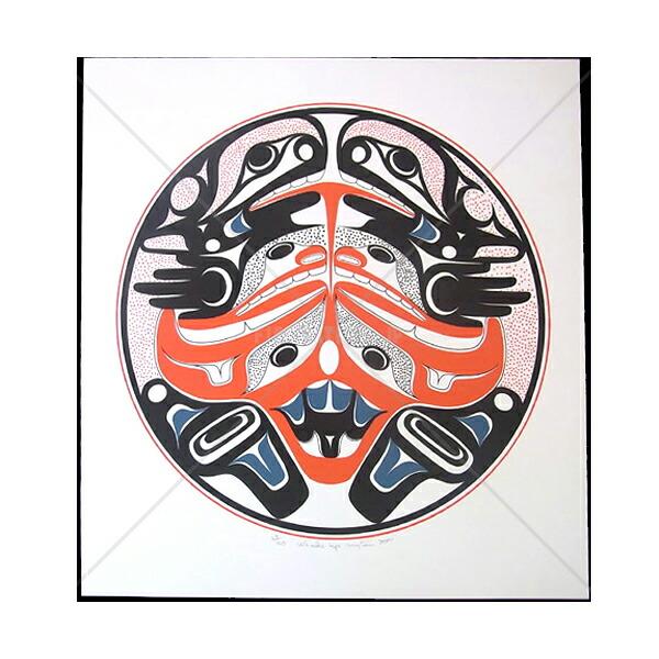アート シルクスクリーン 画 カナダ 先住民 ネイティブ インディアン 限定エディション 63/160 [ WHALES UP ]  送料無料