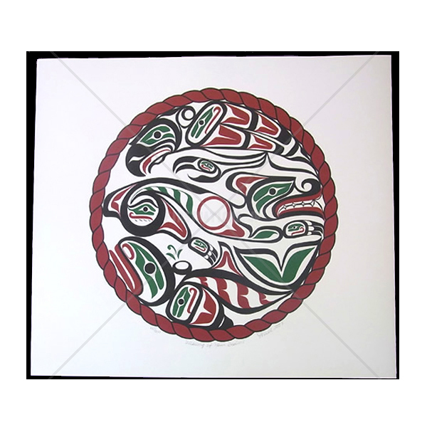アート シルクスクリーン 画 カナダ 先住民 ネイティブ インディアン 限定エディション 177/200 [ WEAVING OF FOUR REALMS ]  送料無料