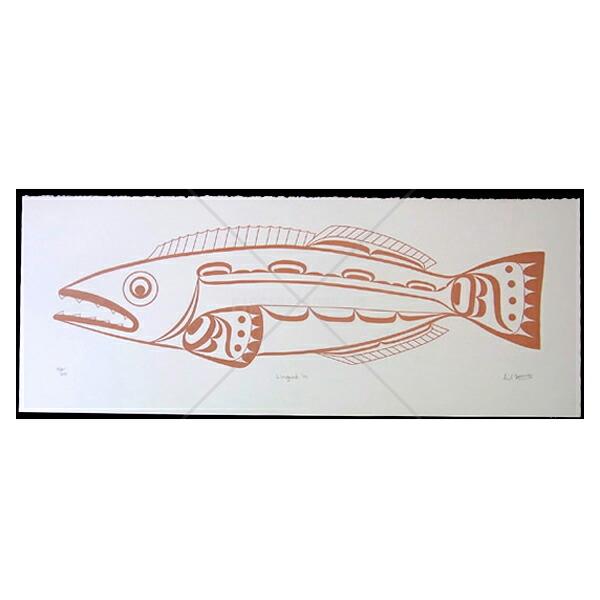 アート シルクスクリーン 画 カナダ 先住民 ネイティブ インディアン 限定エディション 162/200 [ LINGCOD ]