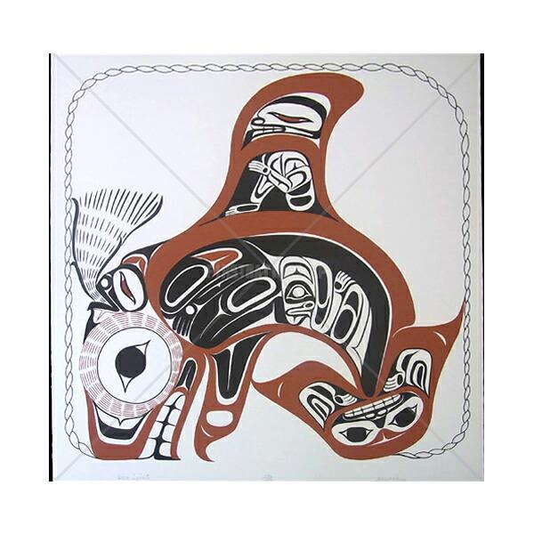 アート シルクスクリーン 画 カナダ 先住民 ネイティブ インディアン 限定エディション 136/150 [ ORCA SPIRIT ]  送料無料