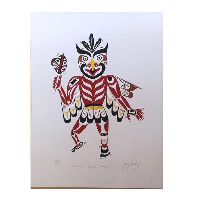 アート シルクスクリーン 画 カナダ 先住民 ネイティブ インディアン 限定エディション 148/150 [ GROUSE DANCER ]