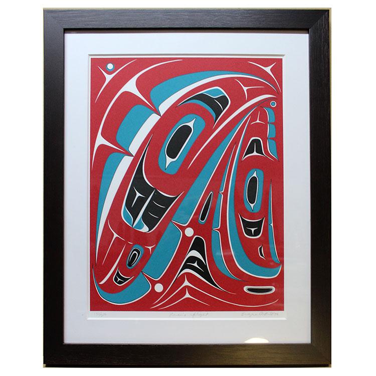 アート シルクスクリーン 画 カナダ 先住民 ネイティブ インディアン 限定エディション 175/200 [ RAVEN'S FLIGHT ] 額装済
