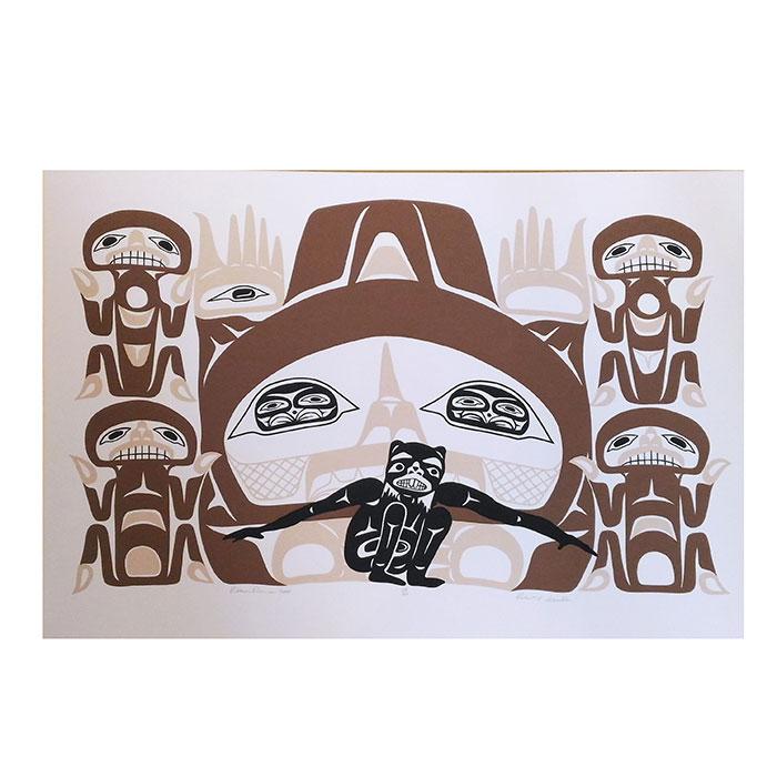 アート シルクスクリーン 画 カナダ 先住民 ネイティブ インディアン 限定エディション 186/200 [ BEAVER DANCER ]