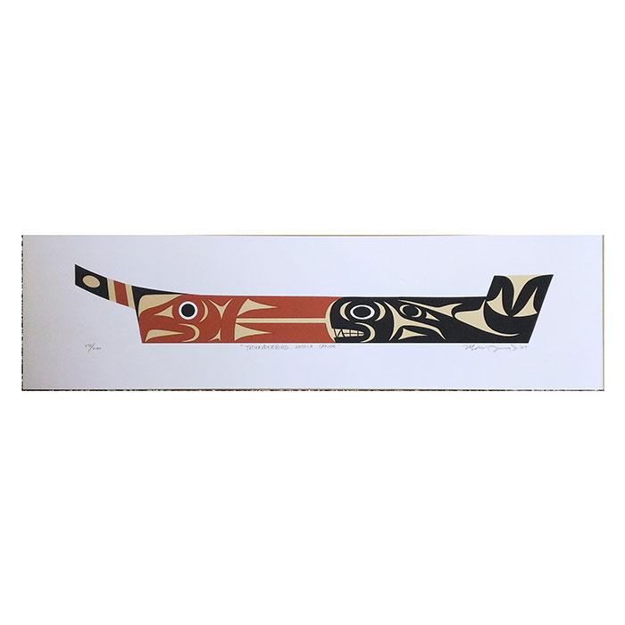 アート シルクスクリーン 画 カナダ 先住民 ネイティブ インディアン 限定エディション 172/200 [ THUNDERBIRD WHALE CANOE ]
