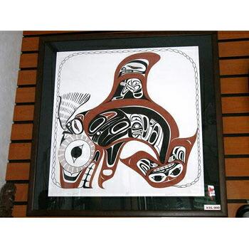アート シルクスクリーン 画 カナダ 先住民 ネイティブ インディアン 限定エディション 105/150 [ ORCA SPRITS ] 額装済  送料無料