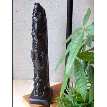 トーテムポール TOTEM POLE レプリカ 黒 カナダ 先住民 ネイティブ インディアン BOMA製 [ CHAMPMAN POLE ] 48cm  送料無料