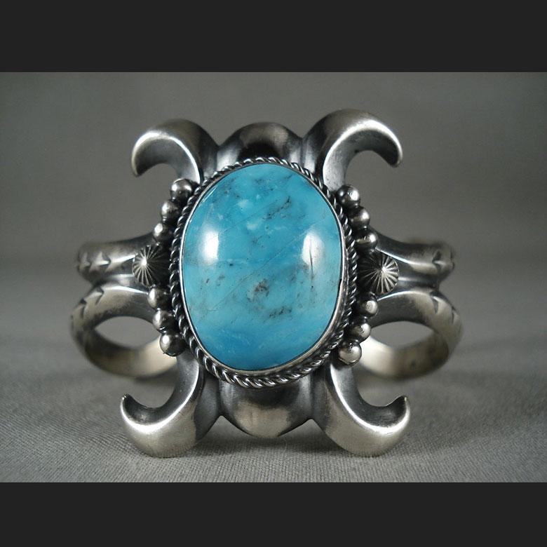 インディアン ジュエリー バングル ネイティブ アメリカン ナバホ族 QUALITY VINTAGE NAVAJO [DEEP BLUE TURQUOISE] シルバー ブレスレット