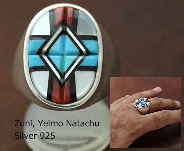 本物のナバホ、ズニ族 北米インディアン 指輪 RING リング 直輸入 激安価格 インディアン ジュエリー 指輪 ネイティブ アメリカン ZUNI ズニ族 Yelmo Natachu ターコイズ インレイ リング 26号