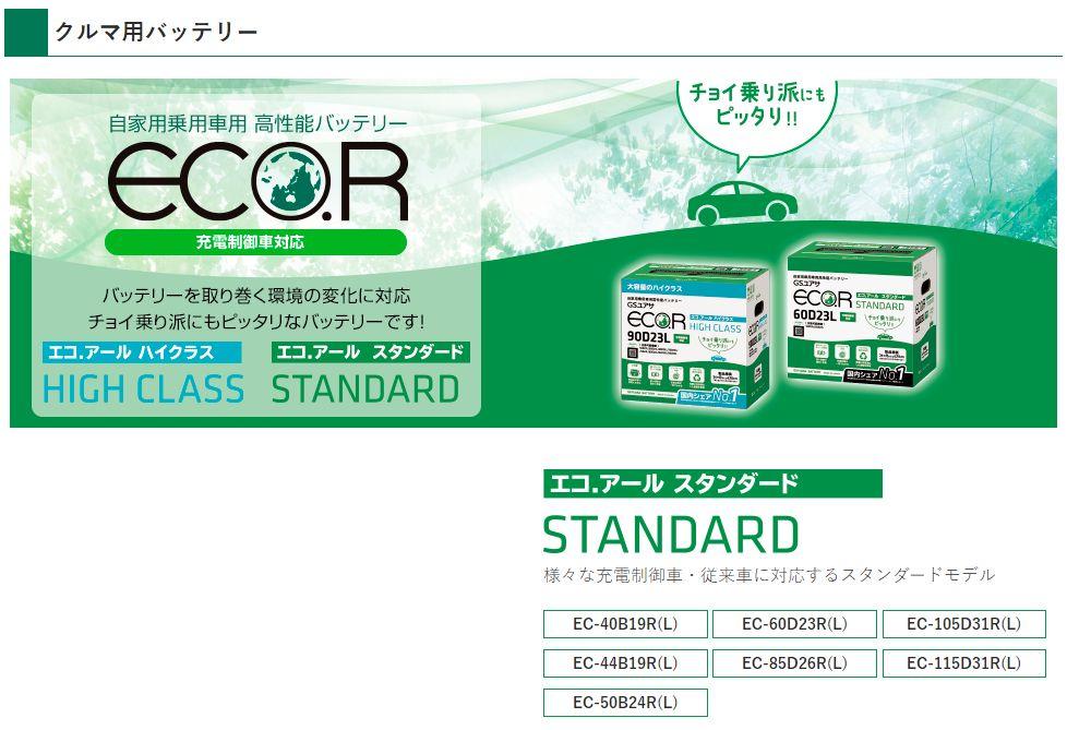 GSユアサECO.R(エコアール)EC-85D26L充電制御車対応スタンダード自家用乗用車用高性能バッテリー